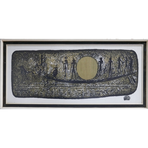 113 - Two Sudanese painted on textiles depicting hieroglyphic figures and symbols, framed and glazed, 100 ...