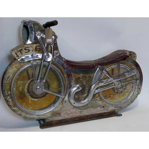 198 - A vintage fairground ride in the form of a motorcycle, with applied, overlaid chrome work and distre...