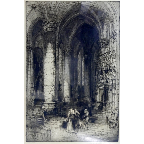 35 - Hedley Fitton (British, 1857-1929), Interior scene of Notre-Dame, Paris, etching, signed in pencil t...