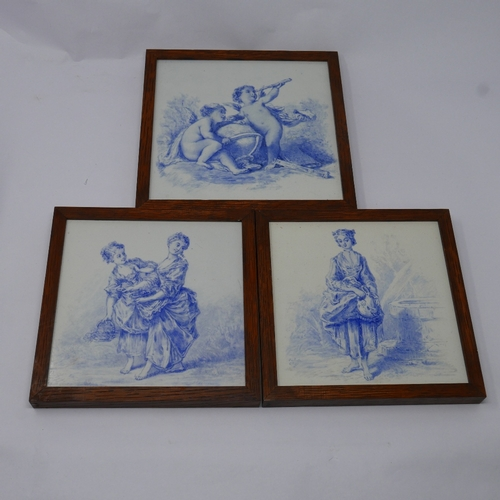 36 - WITHDRAWN-Three Delft style blue and white tiles, comprising one of two maidens, 16.5 x 16.5cm, one ...