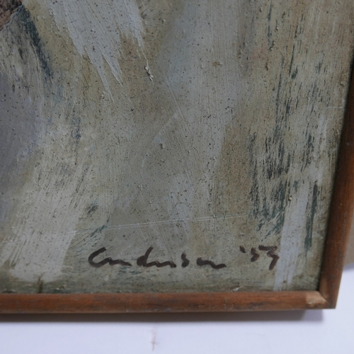 47 - Mid 20th century school, abstract study, oil on board, indistinctly signed and dated '53 to lower ri...