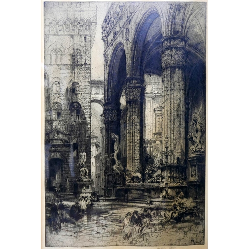 6 - Hedley Fitton (British, 1857-1929), Architectural study, etching, signed to lower margin, 54 x 36cm...