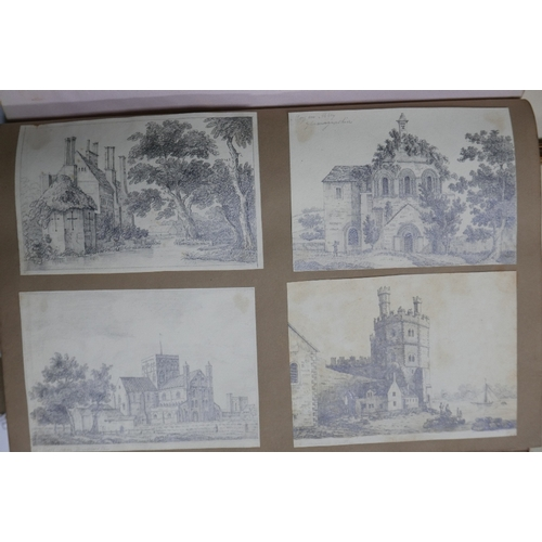 69 - A 19th century sketchbook with pencil sketches, watercolours and engravings, together with three cha...