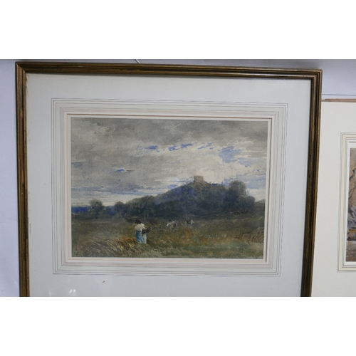 82 - Early 20th century school, Stafford Castle, watercolour and pastel, 25 x 36cm, together with a water...