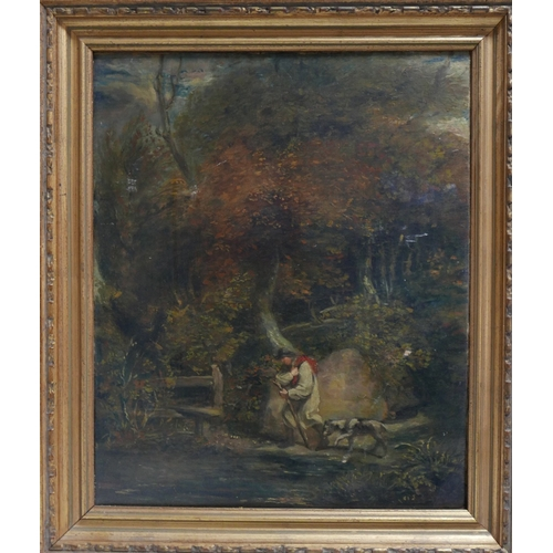 84 - 19th century school, a man in a forest landscape, oil on canvas, 52 x 41cm...