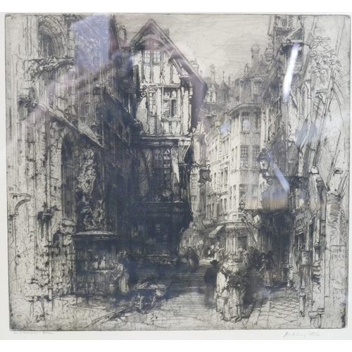 11 - Hedley Fitton (British, 1857-1929), 'Rue St Romaine - Rouen', etching, signed and titled in pencil t...