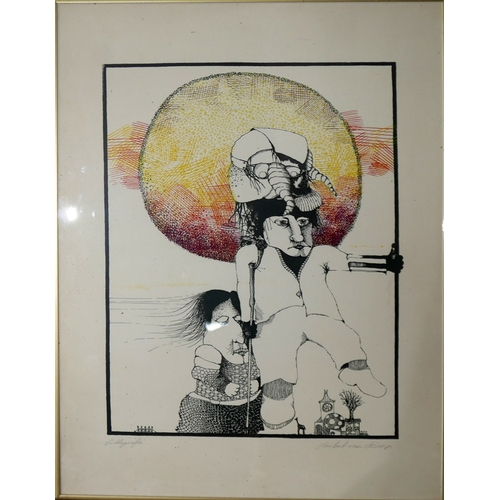 14 - WITHDRAWN-A lithograph depicting a surrealist study of two figures and the sun, signed Hubert Van Do...