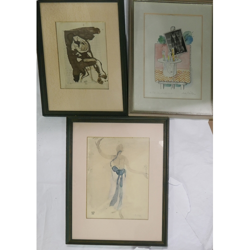 20 - WITHDRAWN- After Auguste Rodin, two figural prints, 'Etreinte' and  'Cambodgienne', both blindstampe...