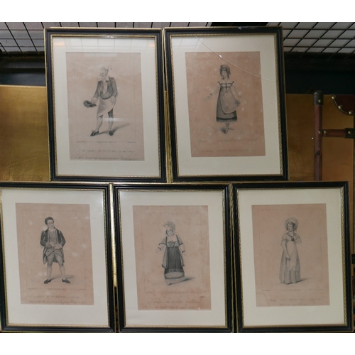 23 - WITHDRAWN- A set of five early 19th century character portrait engravings, engraved by R. Cooper, pu...