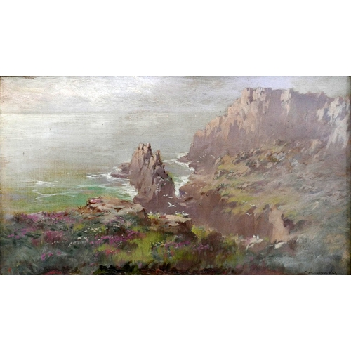 289 - John Baragwanath King (1864-1939), a landscape study of cliffs over the sea, oil on canvas, signed l...