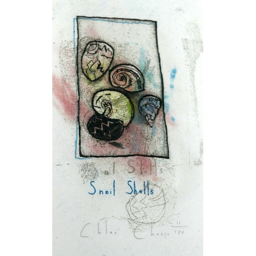 29 - WITHDRAWN-Chloe Cheese (British, b.1952), a series of six colour etchings of eggs and shells, signed...