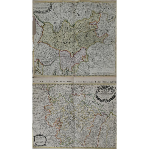 302 - A hand-coloured map by Hubert Jalliot, Paris, 1696, 48 x 62cm, togeether with a hand-coloured map, '...