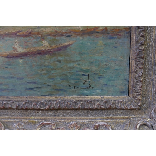 32 - An early 20th century impressionist oil on panel, boats on a lake, indistinctly signed, bearing Chri...