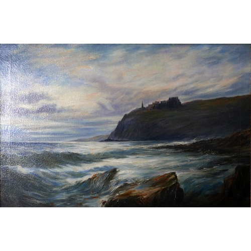 44 - Late 19th century British school, seascape with castle above cliffs, oil on canvas, unsigned, in oak...
