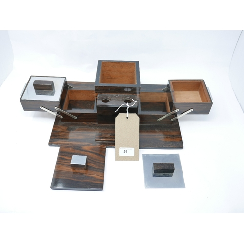 54 - An Art Deco rosewood and chrome smokers box...