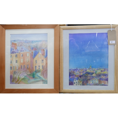 55 - Mair Davies (Contemporary), Two framed and glazed watercolours depicting views of Hampstead, one ent...