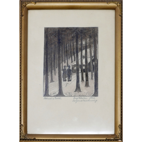 7 - WITHDRAWN-J. Schroers, Hansel and Gretel, pencil study for etching, signed and dated 1920 in pencil,...