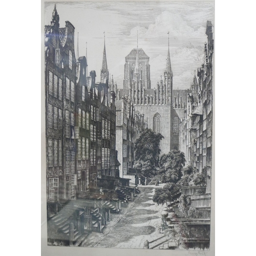 9 - WITHDRAWN-A collection of four etchings and prints, to include a cityscape, 50 x 36cm, a landscape s...