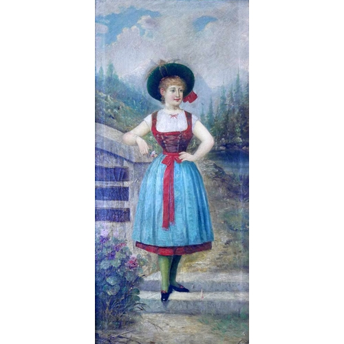 16 - Pal Bohm, Hungarian (1839-1905), lady by a fence, oil on canvas, signed lower right, set in gilt fra...