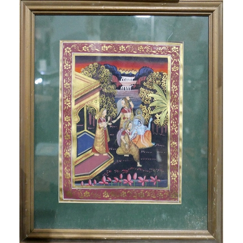 78 - A Indian painting on textile of three ladies and a Hindu Deity by a pagoda with waterfalls to backgr...