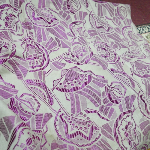 47 - **WITHDRAWN**A collection of Art Deco textiles, to include a pair of silver and purple textiles with...