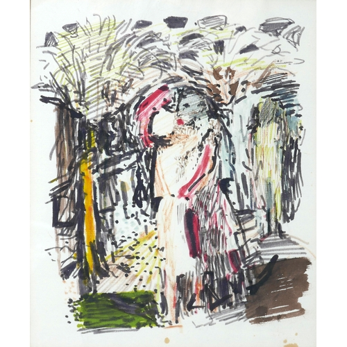 44 - Edwin Smith, 'The Tryst', watercolour and ink, inscribed to verso, 24 x 19cm...