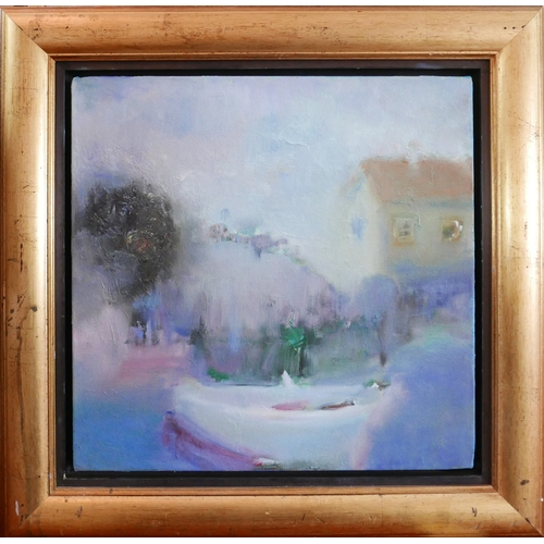 56 - 20th century school, Townscape in the Mist, oil on canvas, monogrammed BR to lower right, framed, 46...