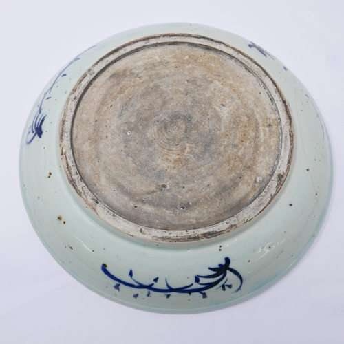 4 - A late 19th/early 19th century, Chinese, porcelain bowl decorated with blue handpainted figures unde...