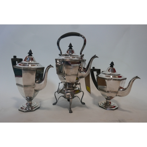 10 - An early 20th century, silver-plated, 5 piece teaset of faceted, octagonal form, comprising of milk ...