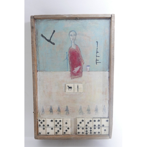 11 - Daniel Aram, Surrealist study, figure above dominoes, mixed media, signed and dated '99, Gallerie Br...