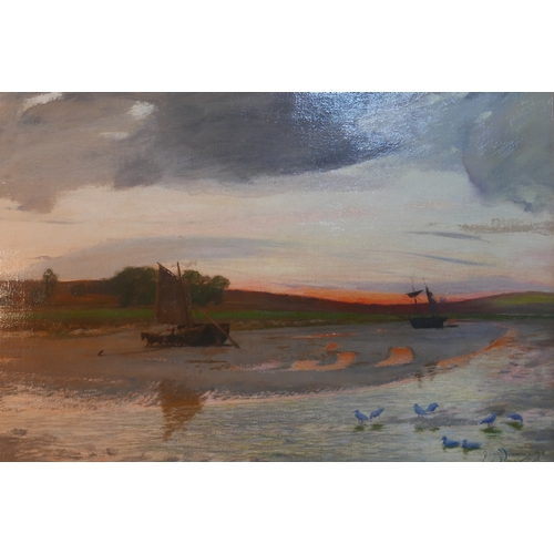 16 - Sir David Murray RA PRI (British, 1849-1933), A Beach at Sunset, oil on canvas, signed and dated 98 ...