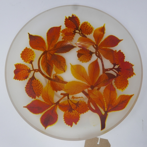 29 - A Czech glass dish, c.1970's/1980's, decorated with autumnal leaves, indistinctly signed, Diameter 2...