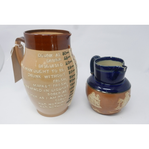 45 - A Doulton Lambeth inebriation measuring jug, impressed marks to base, H.24cm, together with a Royal ...