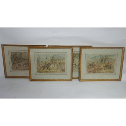 50 - John Frederick Herring (British, 1815-1907), a set of four foxhunting studies, watercolour and gouac...