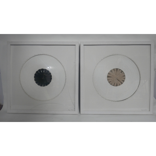 53 - Branco sobre Branco, two contemporary circular studies, paint and velvet, in white painted frames, D...