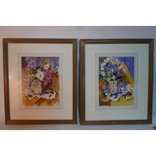 54 - Paul Maze, 'Autumn Flowers on Gold Velvet', a pair of still life studies, watercolour, both monogram...