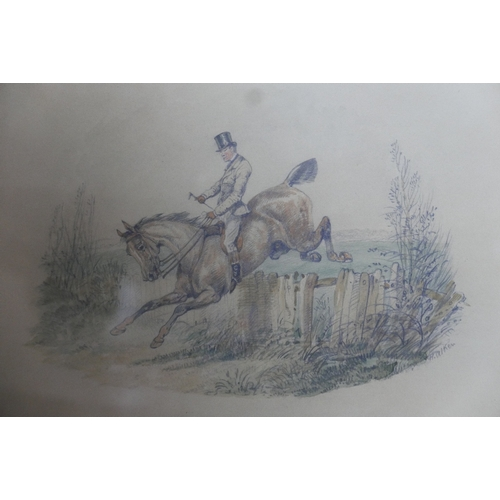 59 - Samuel Henry Alken (British, 1810-1894), 'Clearing a Hedge', watercolour over pencil, signed lower r...