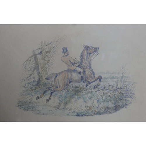 60 - Samuel Henry Alken (British, 1810-1894), 'A Heavy Tumble', watercolour over pencil, signed lower rig...