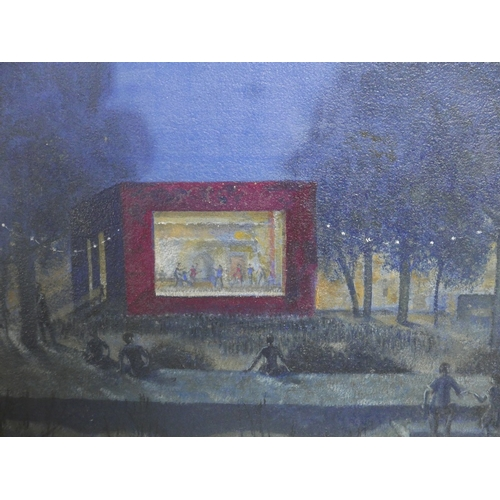 14 - Laurence Irving (British, 1897–1988), Outdoor Theatre, oil on board, framed, 34 x 50cm...