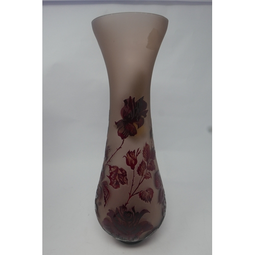 35 - A Galle style red glass vase with floral decoration signed Z.Gabor, H.41...