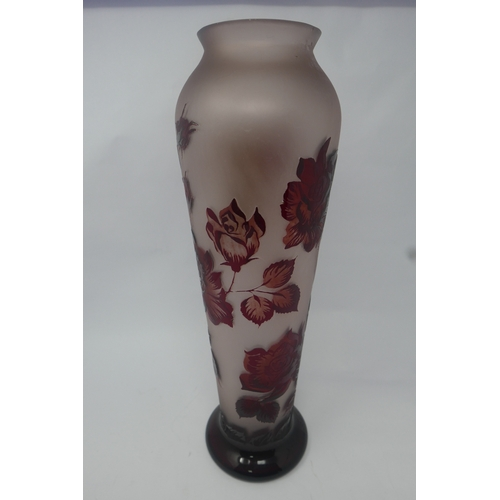 40 - A Galle style red glass vase with floral decoration signed Z.Gabor, H.44...