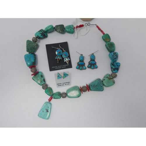 20 - A collection of sterling silver and turquoise jewellery to include a large beaded necklace interspac...