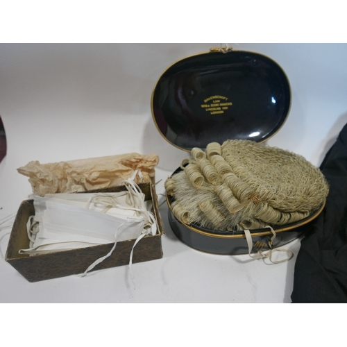 1 - A 'Ravenscroft' barrister wig in fitted box together with a Ede & Ravenscroft robe...