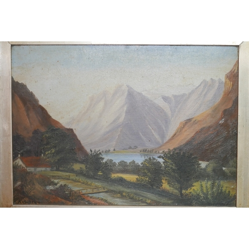 111 - 19th century school, Mountainous Landscape Scene, oil on board, monogrammed MM and dated 1880 to low...