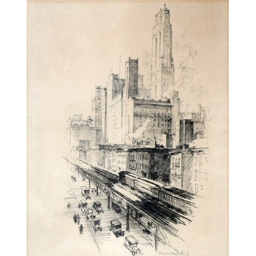 166 - Vernon Howe Bailey, American, 1874-1953, lithograph, street scene, signed in pencil, 54 x 43cm...