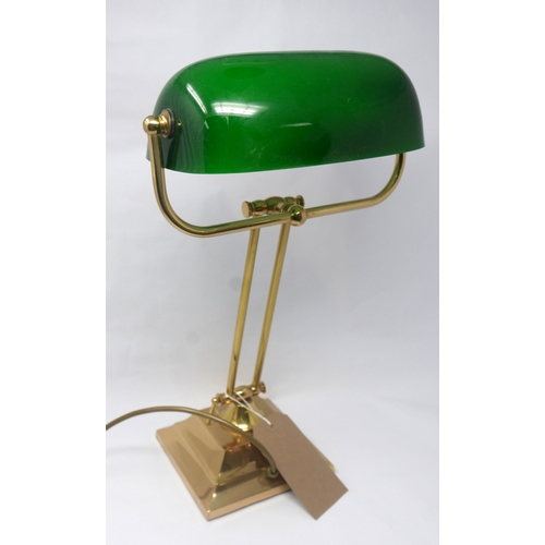 167 - A 20th century brass bankers lamp with green glass shade...