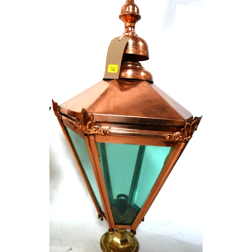 112 - A large pair of copper outdoor lanterns, H.82cm...