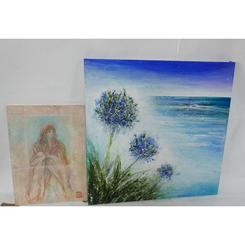 114 - A large unframed oil on canvas, abstract sea composition and another. H.100 W.100cm...