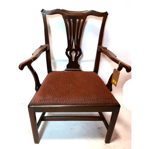 289 - A Georgian mahogany open elbow chair...