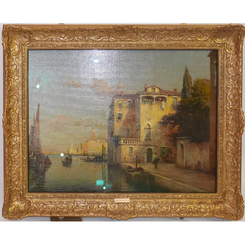 8 - Antoine Bouvard (French, 1870-1956), A Venetian Canal Scene, oil on canvas, signed lower left, H.48c...